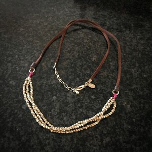 AEO Brown Suede and Goldtone Bead Long Necklace